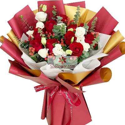云花鲜花(欣龙鲜花连锁店)19朵红玫瑰,礼盒装,有你的每一天都是睛天