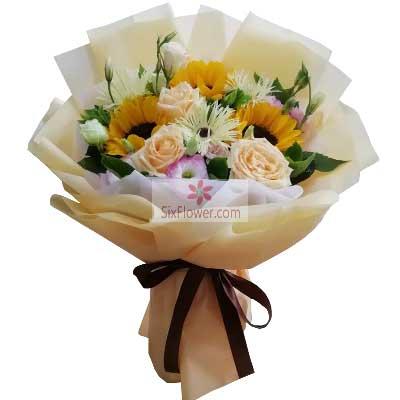 情缘花艺婚庆3朵向日葵,3朵香槟玫瑰,前程似锦