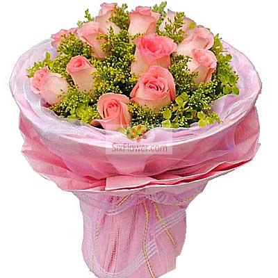 青岛花艺坊鲜花店14朵粉玫瑰,我的爱只为了你存在