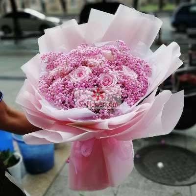9朵粉玫瑰,粉色满天星,往后余生全是你北京密云海澜娇鲜花坊