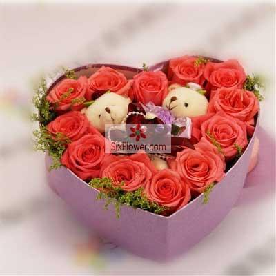 12朵粉玫瑰,礼盒装,时刻为你着迷沁语花艺