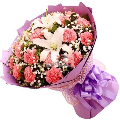 22朵粉色康乃馨,2支白色多头百合,永远年轻江宁好美鲜花蛋糕