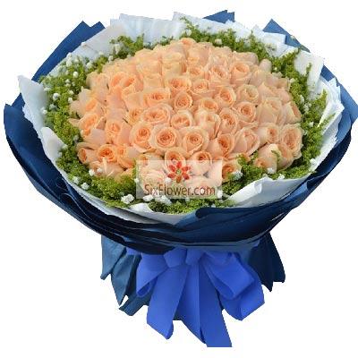 100朵香槟玫瑰,爱你的甜蜜鄞州区友好鲜花