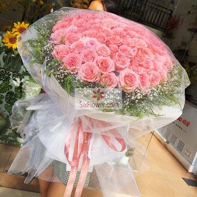 大兴幸福花屋100朵戴安娜粉玫瑰,好好的珍惜你