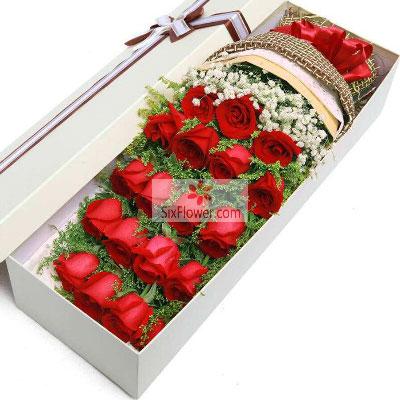 花戒花艺坊19朵红玫瑰礼盒,愿你我一生连理枝
