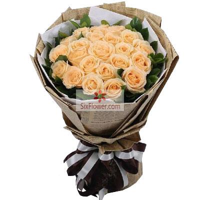 21朵香槟玫瑰,真心喜欢你花蜜花艺鲜花店