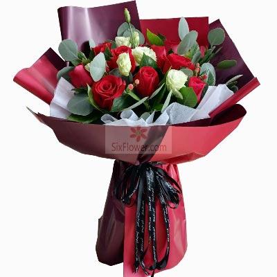 11朵红玫瑰,5朵桔梗,我永远爱你红蔷薇鲜花蛋糕店