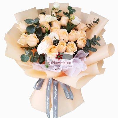 17朵香槟玫瑰,我的世界与你在一起爱永久鲜花