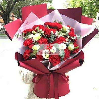 杭州月光花坊20朵红色康乃馨,佳节喜气扬