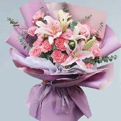 19朵粉色康乃馨,2支粉色百合,快乐安康