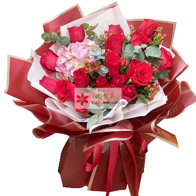 19朵红玫瑰绣球花,让爱情绽放胶州花之缘鲜花