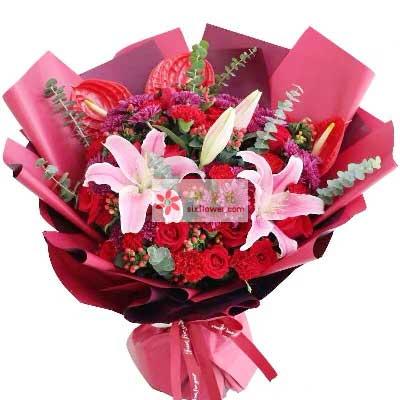 11朵红玫瑰康乃馨,真挚的祝福杭州秀萍花坊
