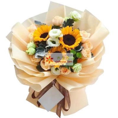 梦幻花坊9朵香槟玫瑰,3朵向日葵,谢谢您给我生命