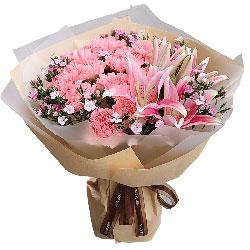 19朵粉色康乃馨,2支粉色多头百合,幸福安康