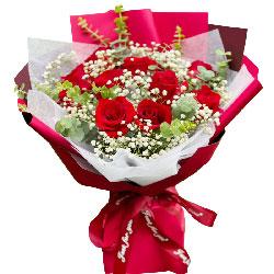 12朵红玫瑰满天星,爱人平安快乐