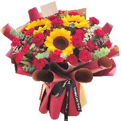 29朵红色康乃馨向日葵,幸福美好