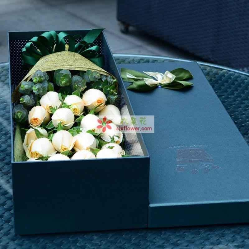 19枝香槟玫瑰,绿叶搭配
