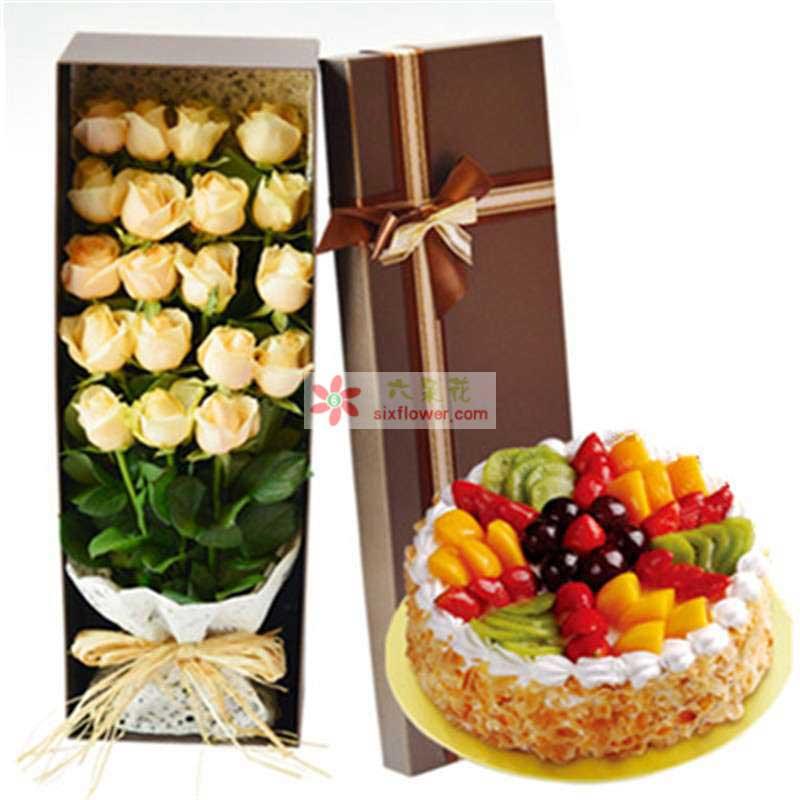 香槟玫瑰19枝,水果蛋糕8寸