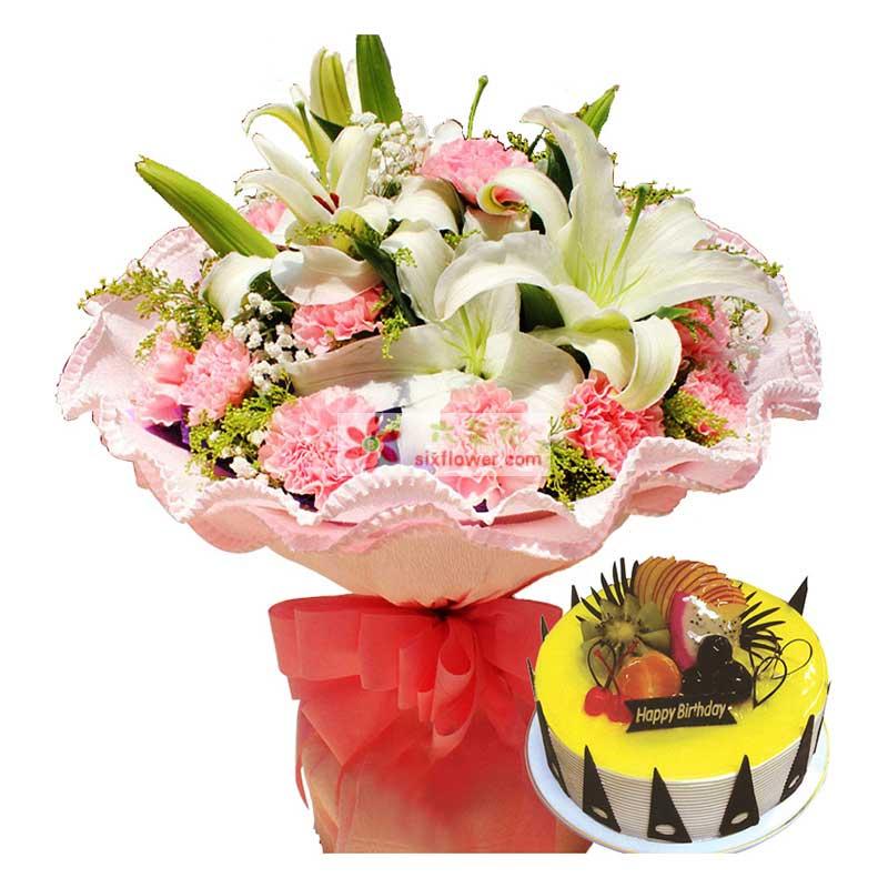 白色多头香水百合3支,水果蛋糕8寸,粉色康乃馨11支,花束黄莺满天星点缀