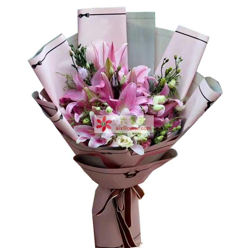 向最可爱的人致敬/6枝粉色多头香水百合 - 六朵花