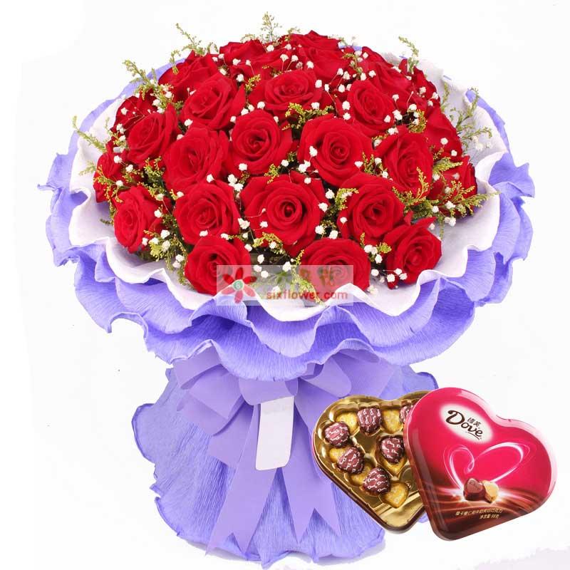 33枝红玫瑰,98g德芙心语巧克力