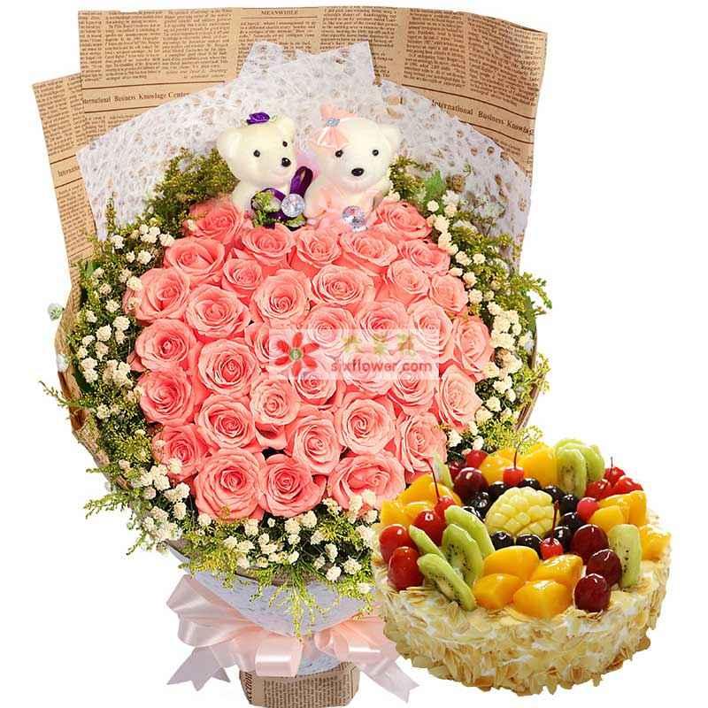 33枝粉玫瑰,周围满天星点缀,2个小熊,8寸水果蛋糕(水果为时令水果)
