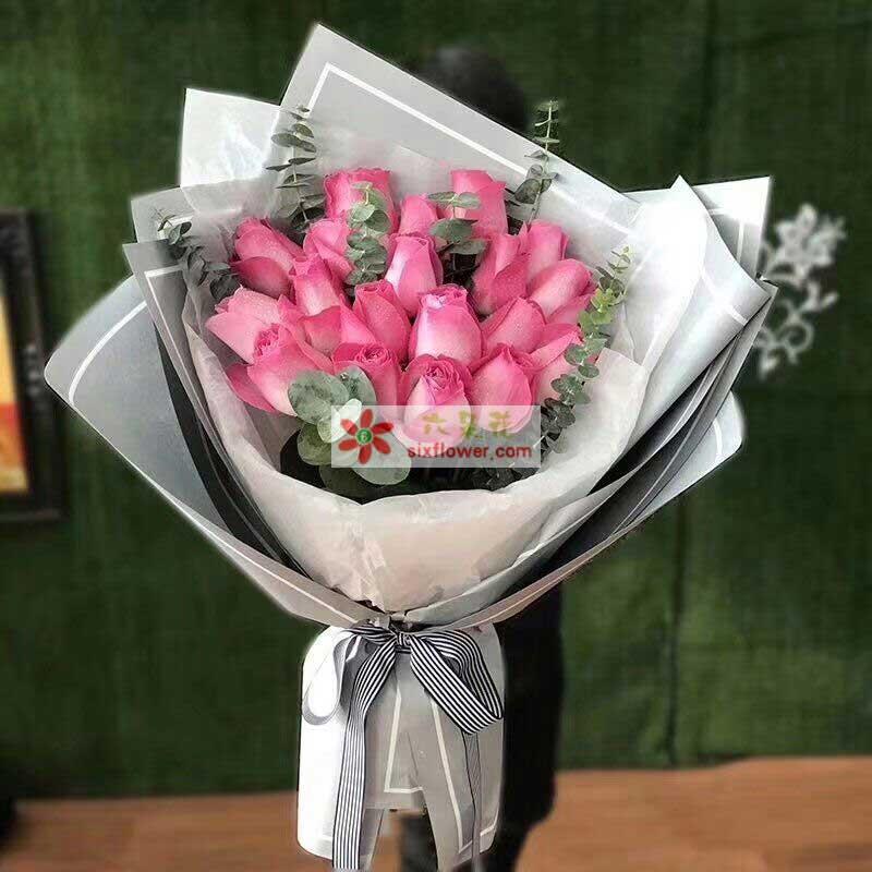 19枝戴安娜粉色玫瑰,尤加利点缀