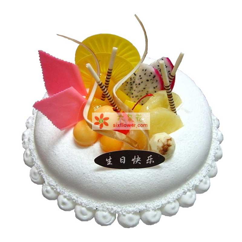 8寸圆形鲜奶水果蛋糕,时令水果装饰