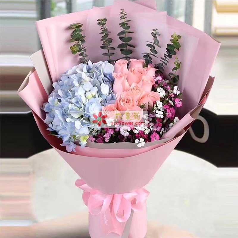 11枝戴安娜粉色玫瑰,2只蓝色绣球花,相思梅丰满