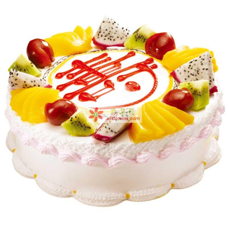 8寸圆形鲜奶水果祝寿蛋糕,时令水果装饰