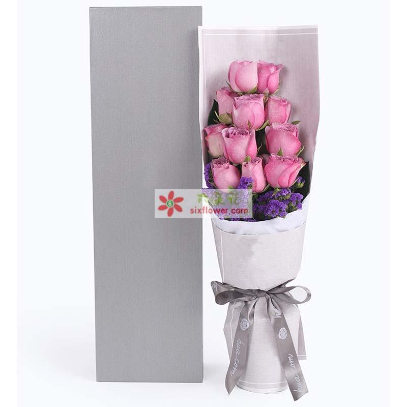 11枝紫色玫瑰、深紫色勿忘我搭配