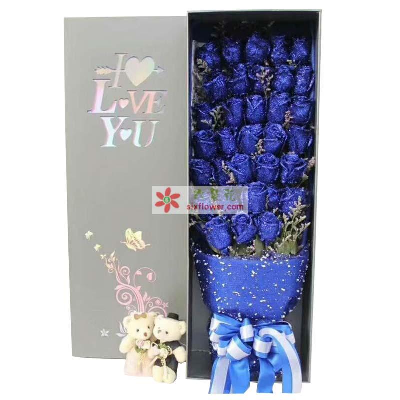 33枝蓝色玫瑰,情人草或黄英点缀