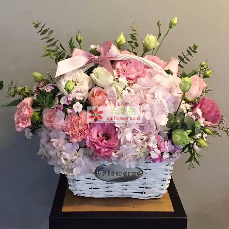 戴安娜玫瑰11枝,粉色桔梗6枝,白色桔梗11枝,粉色绣球花3朵,相思梅丰满,尤加利点缀