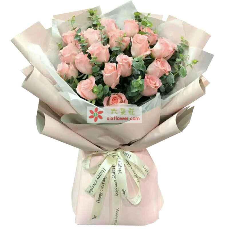 19枝戴安娜粉色玫瑰,尤加利丰满