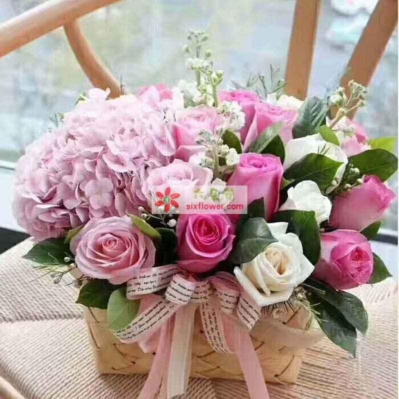 粉色玫瑰、苏醒玫瑰、白玫瑰共计20枝,2只粉色绣球花,橛子叶、满天星、配草丰满
