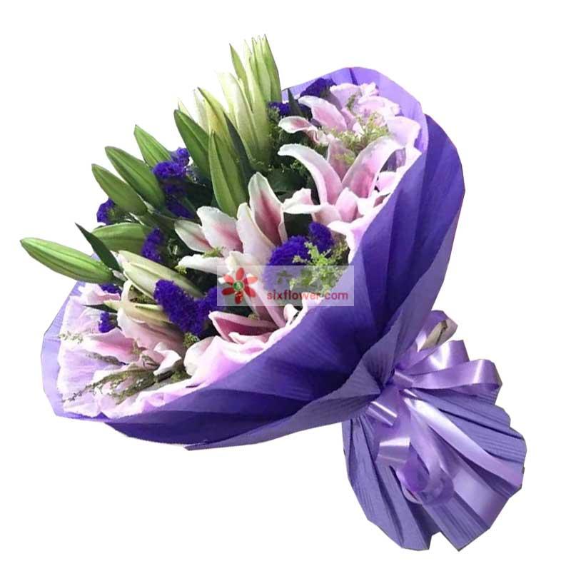 9枝粉色百合,黄英、情人草、紫色勿忘我点缀;