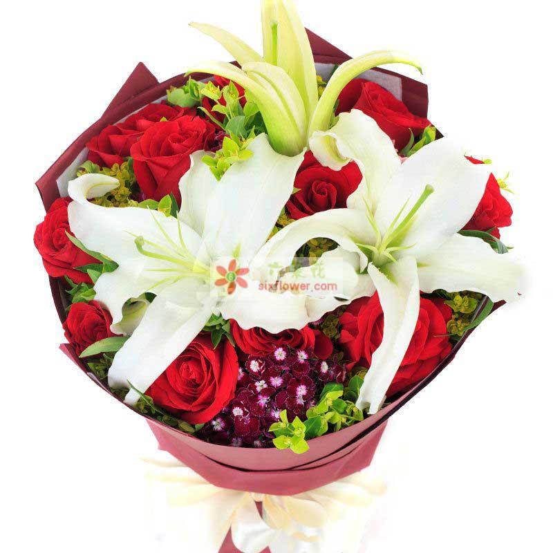 11枝红玫瑰,1枝多头香水百合