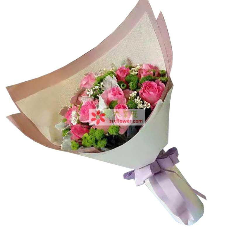 12枝戴安娜粉色玫瑰,小雏菊、相思梅、天门冬