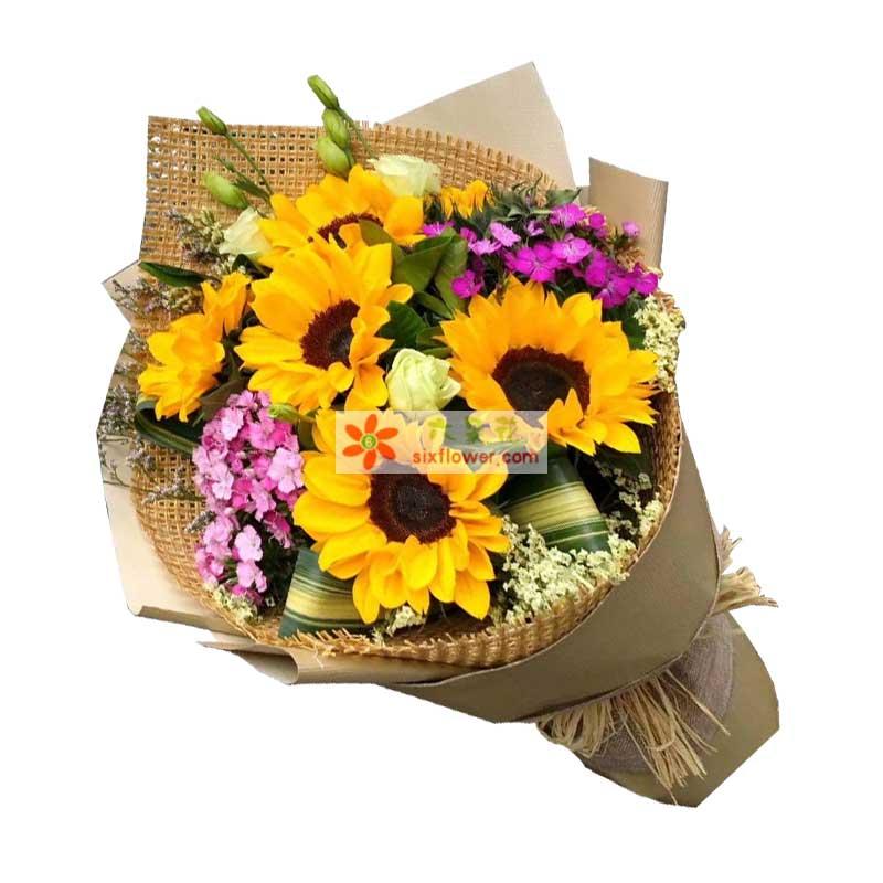 5枝向日葵,桔梗、粉色相思梅、巴西叶等大