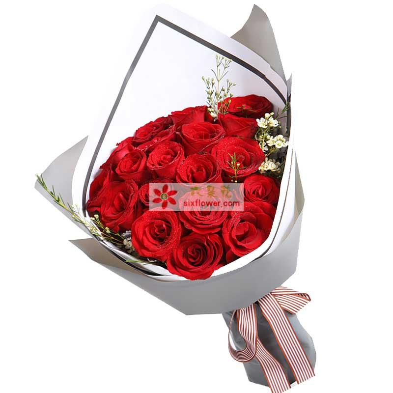 19枝红玫瑰,白色腊梅搭配(如腊梅无货,则用白色石竹梅或满天星代替)