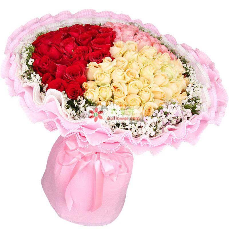 粉玫瑰、红玫瑰、香槟玫瑰共99枝,搭配相思梅