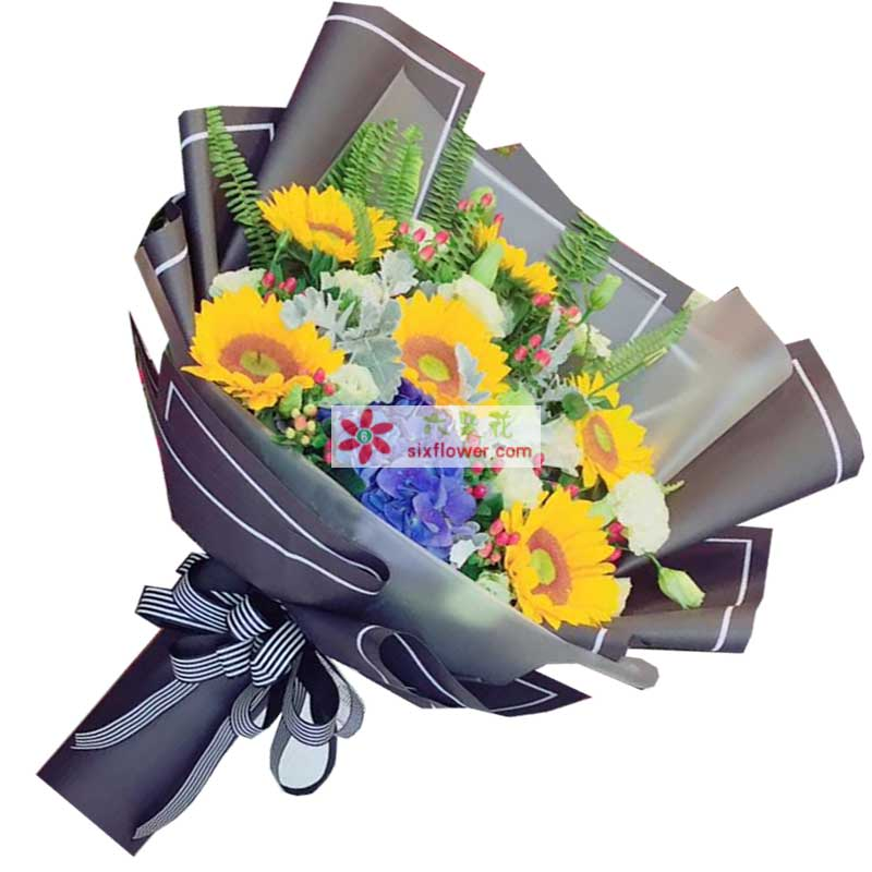 6枝向日葵,1只蓝色绣球花,红豆、排草搭配(特殊花材没有时将用季节花材替换)