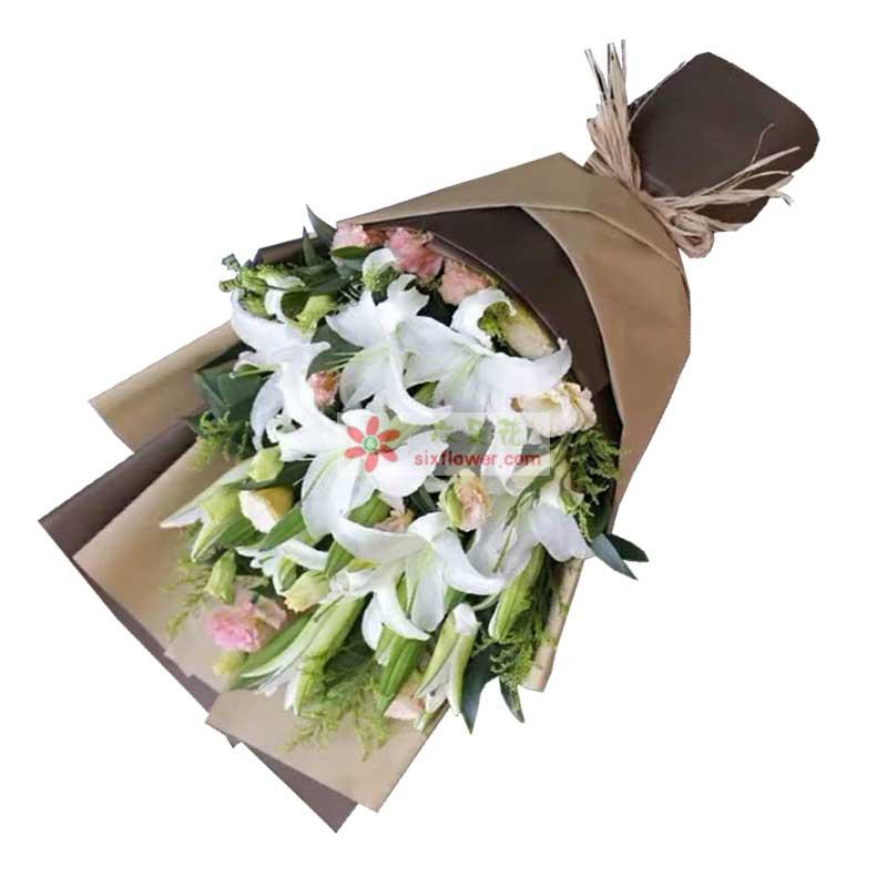 9枝多头白色百合,9枝粉色康乃馨,黄英、配叶点缀
