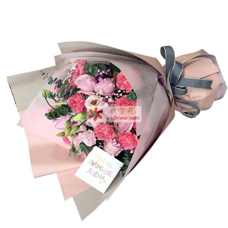 12枝粉色玫瑰,12枝粉色康乃馨,桔梗搭配,尤加利、粉色满天星点缀