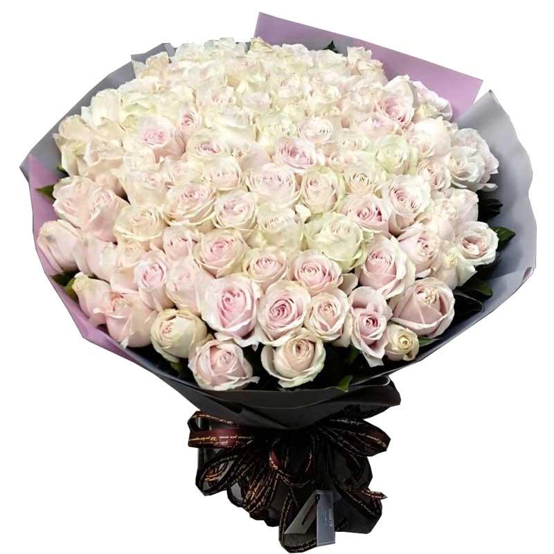 66枝粉红雪山玫瑰(如果没有换纯白色玫瑰),周围配叶搭配